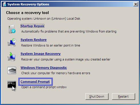 windows 7 repair your computer option